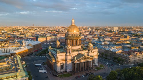 Aerial View of St Isaac's Cathedral in St Petersburg