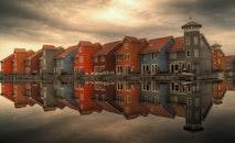 sea, houses, cloudy