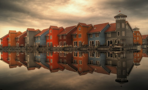 Free stock photo of sea, houses, cloudy, buildings
