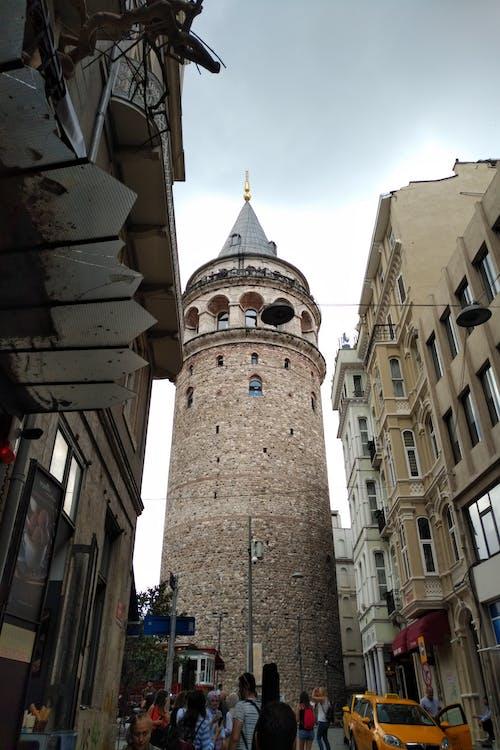 Free stock photo of galata tower, grey sky, sight