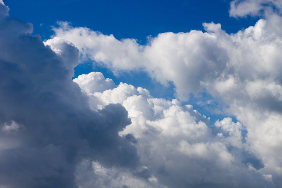 azul, cielo, nubes