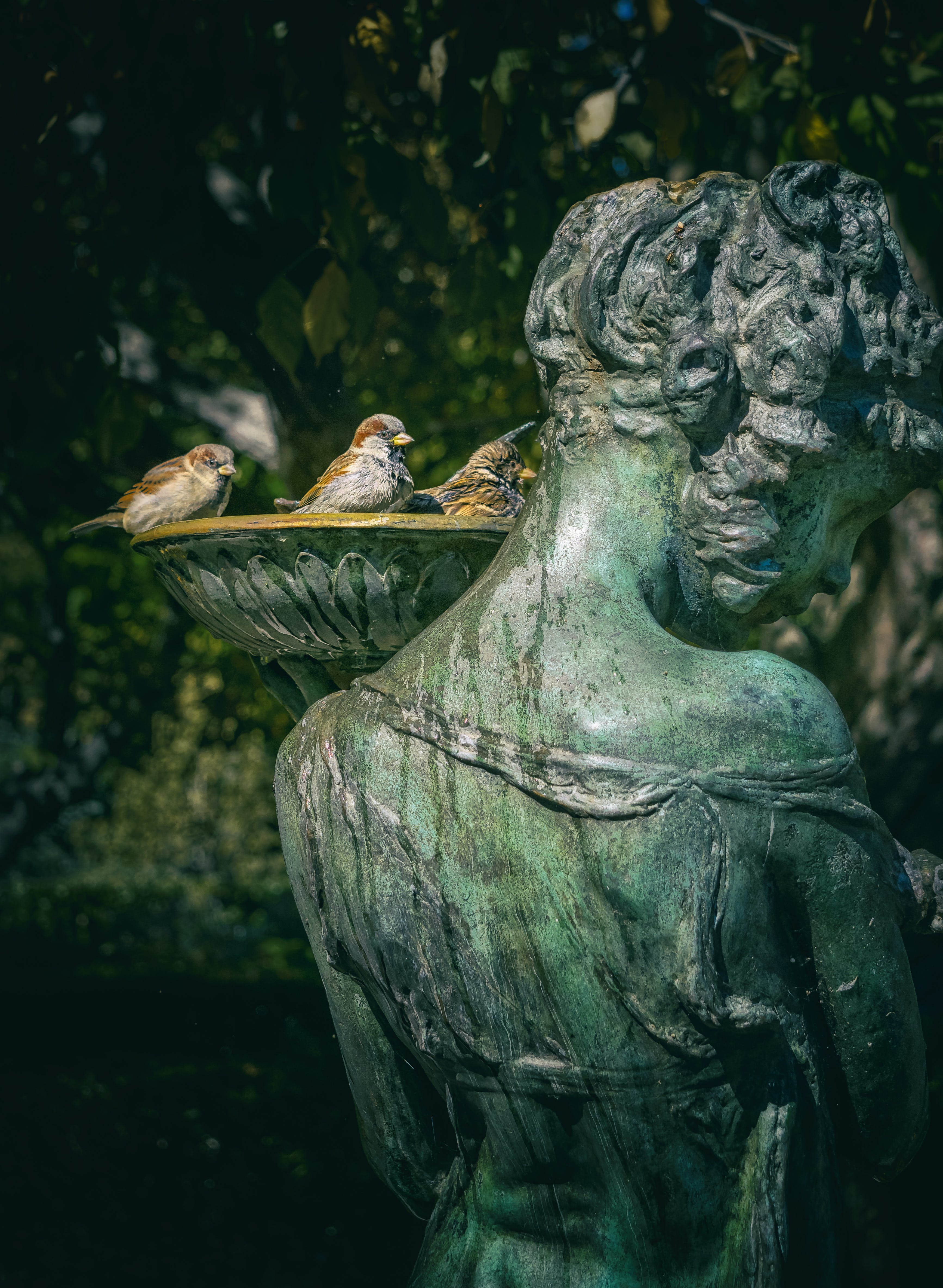 Woman Statue With Bird Bath