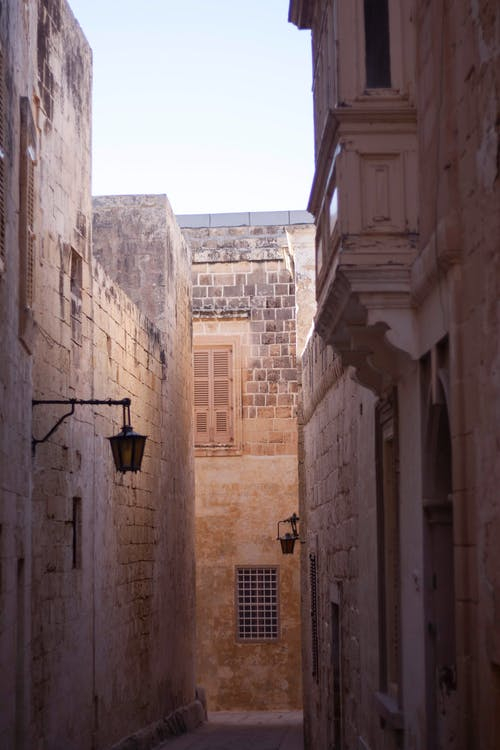 Narrow street with old buildings