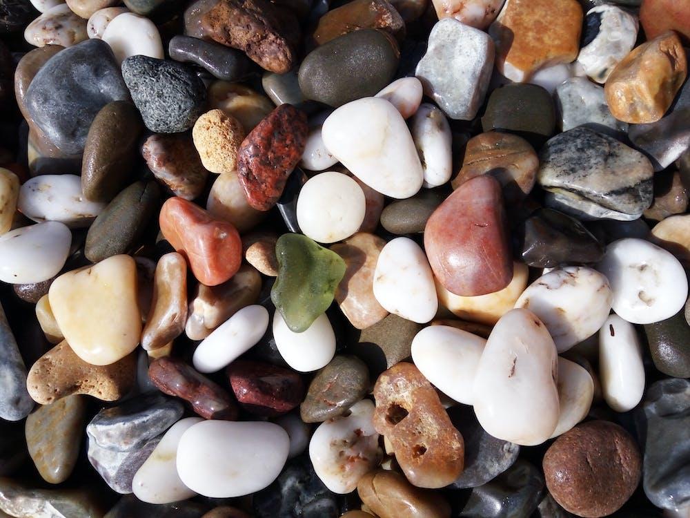 bílá, dlažební kostka, kameny