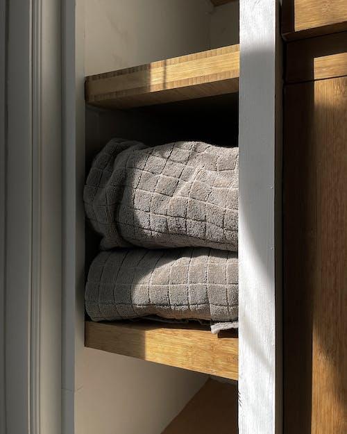Gray and White Plaid Textile