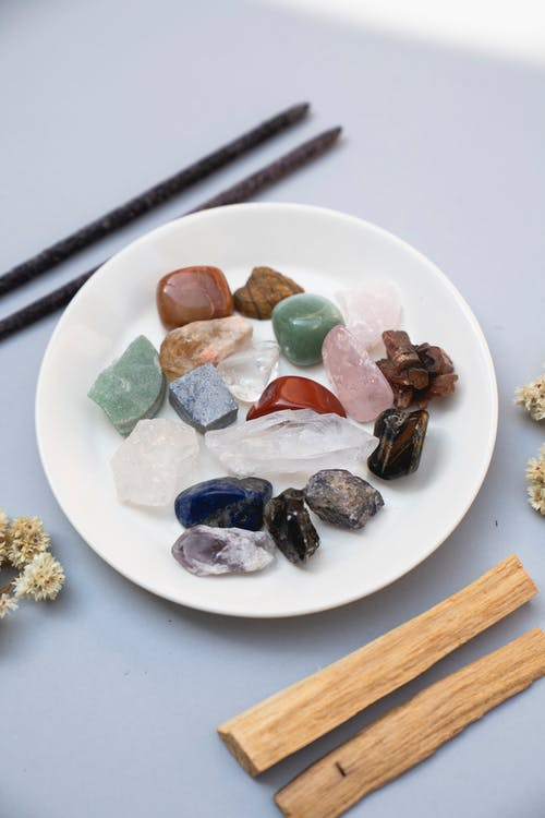 Assorted Gem Stones on Plate
