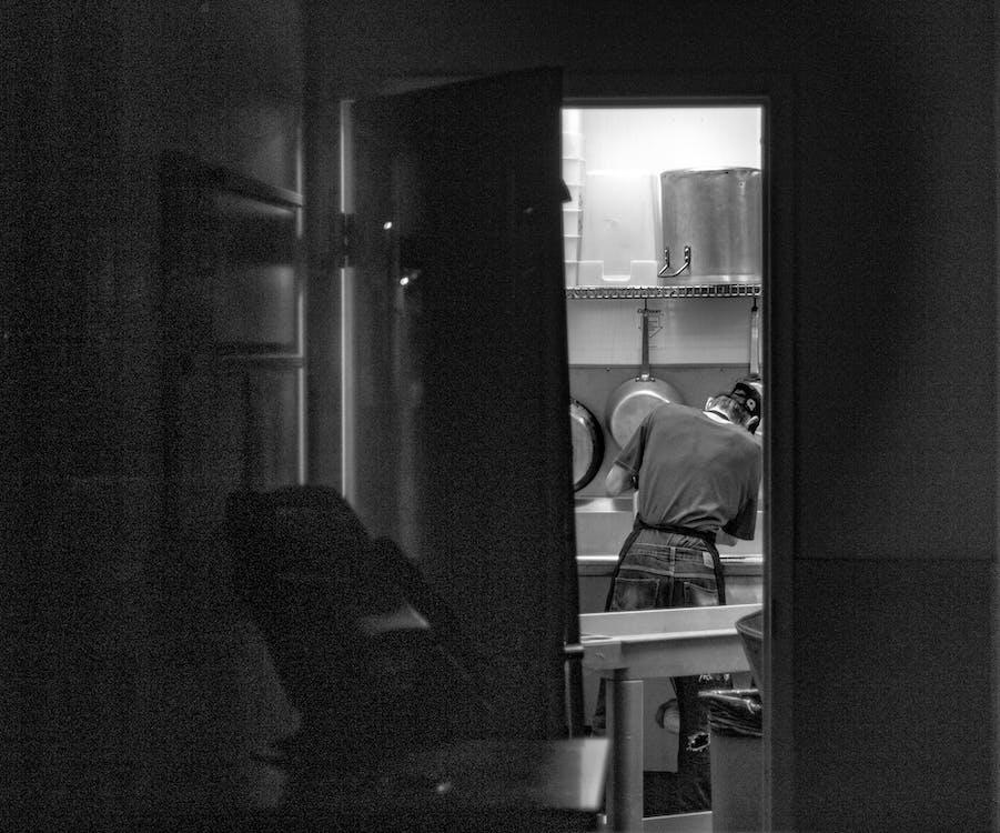 blanc i negre, cuina, disseny d'interiors