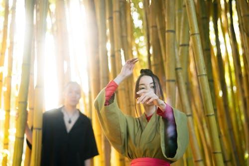 Dancing Woman in Green Kimono