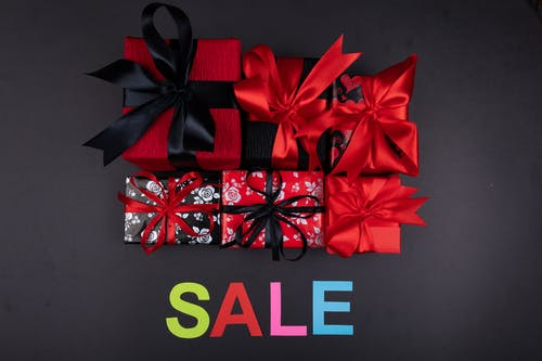 Gifts with Black and Red Ribbons