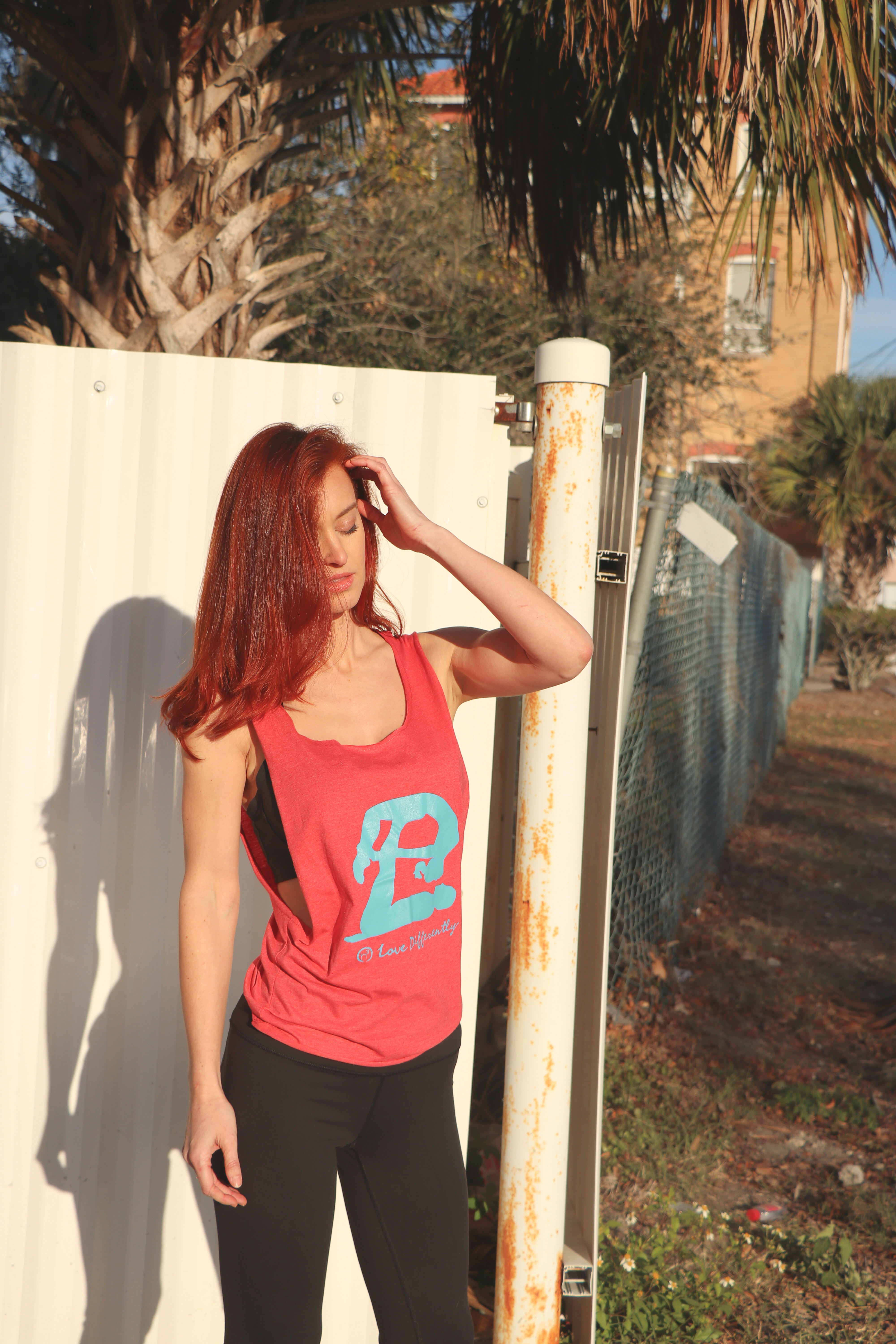 Woman in Pink Crew-neck Tank Top