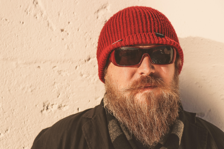 Bearded Man Wearing Red Beanie Cap ac71a08ea871