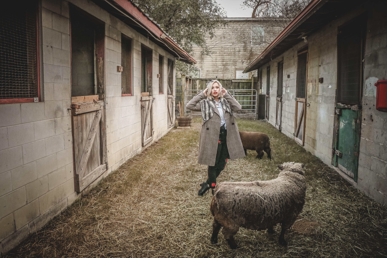 Woman Standing Near Sheep
