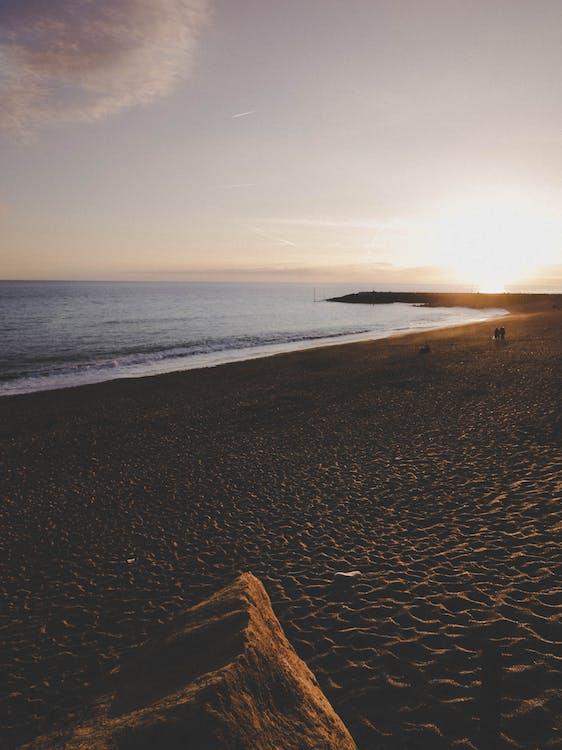 aallot, auringonlasku, aurinko