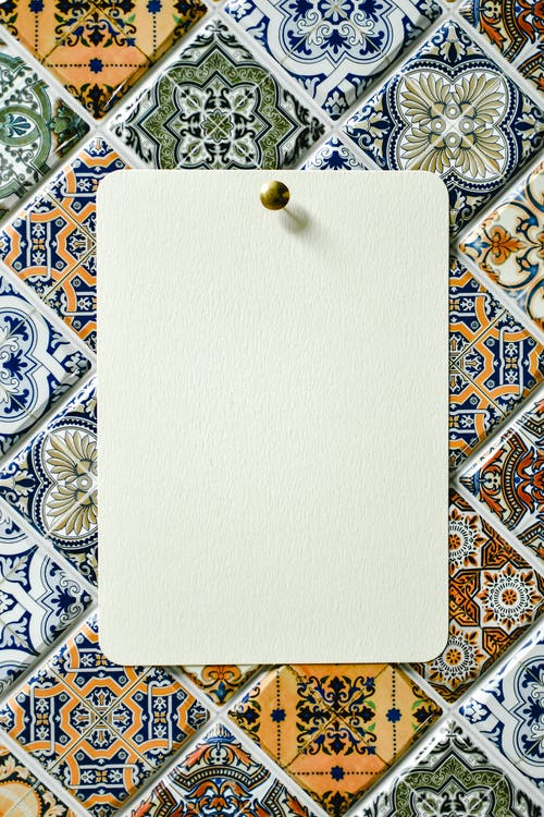White Paper on White and Blue Textile