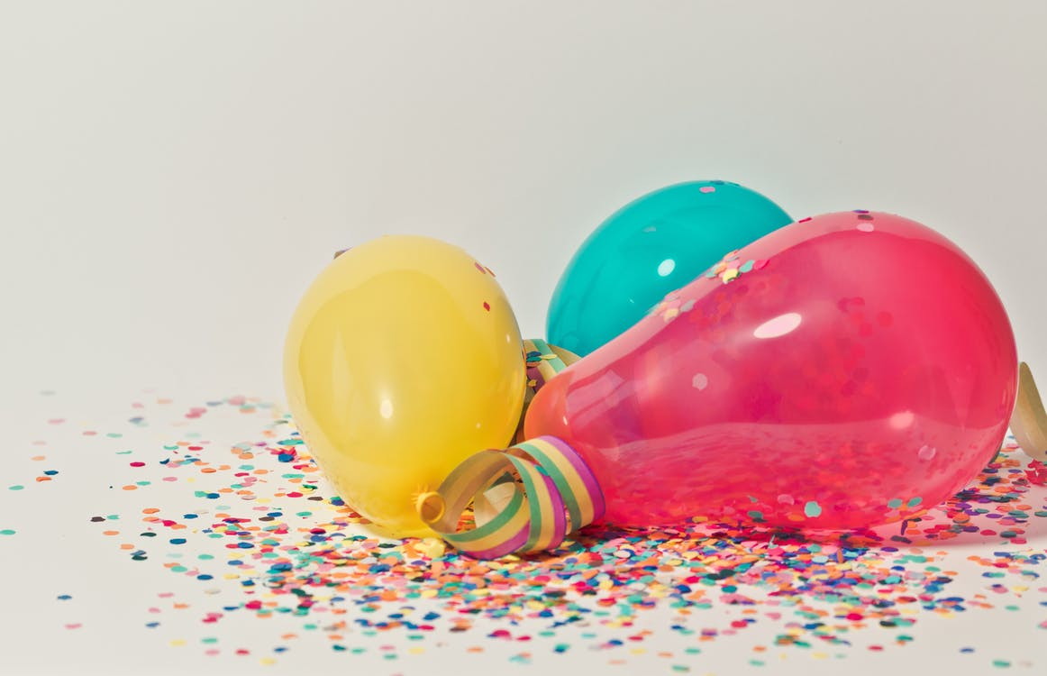 Yellow, Pink, and Blue Party Balloons