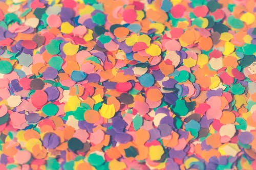Assorted Colors Paper Cutouts Closeup Photo