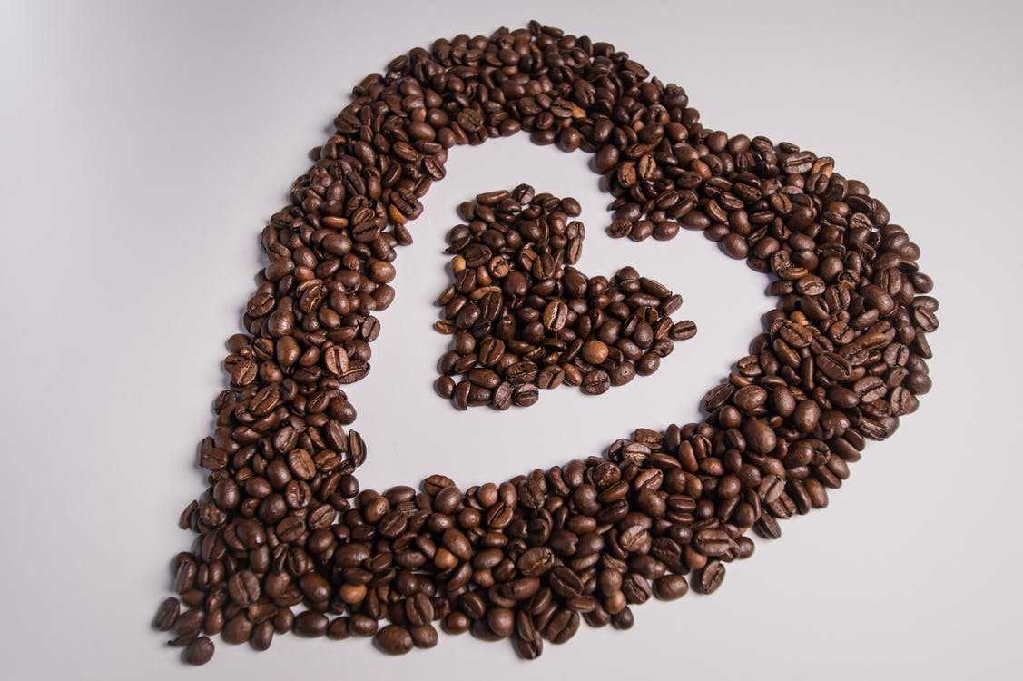 Coffee Beans Shaped Into Heart