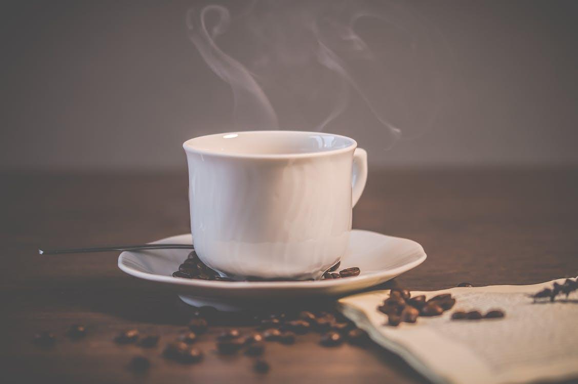 White Ceramic Coffee Mug With Saucer