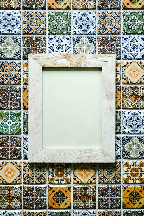 Blue and White Floral Frame