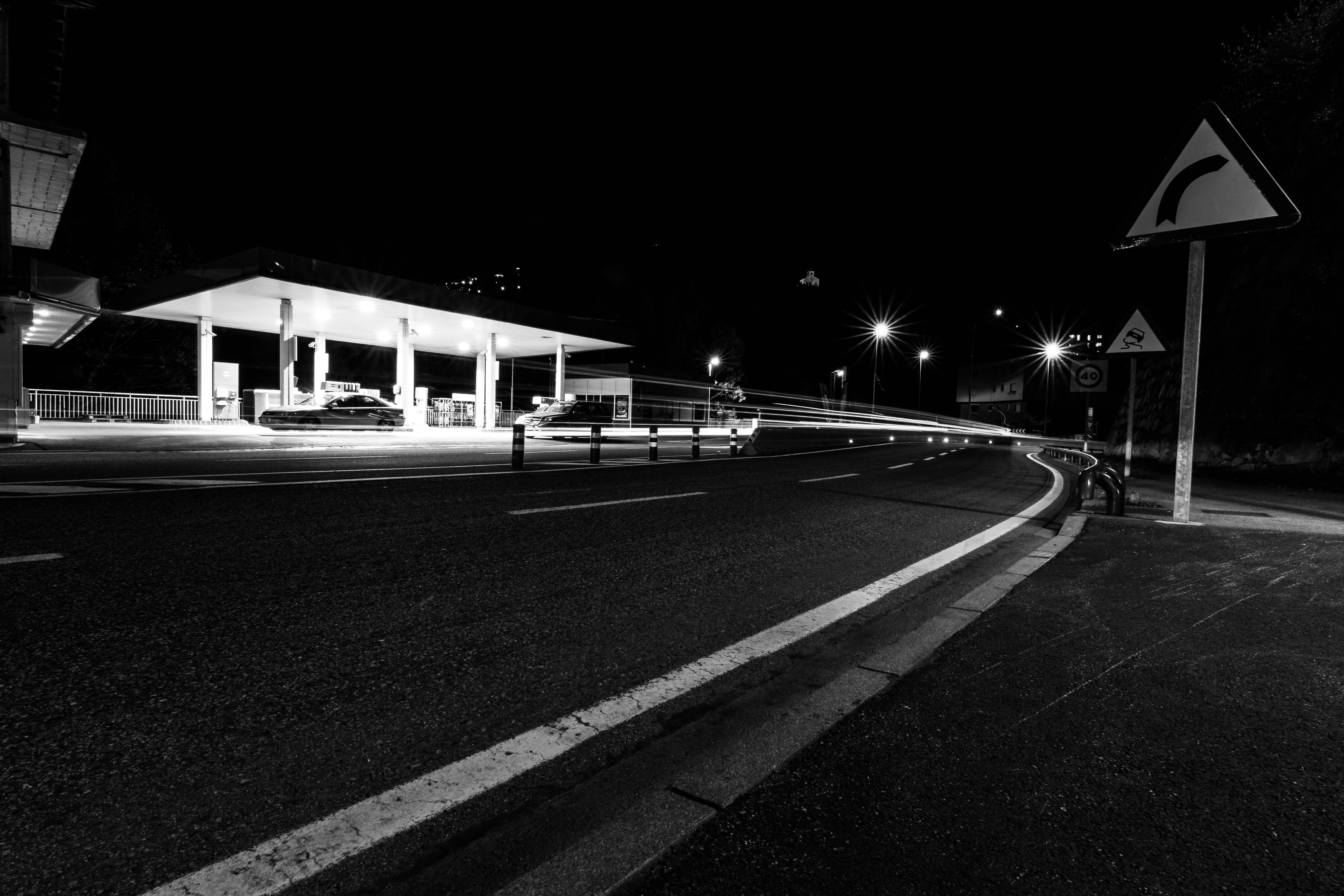 Free stock photo of light, black-and-white, road, night