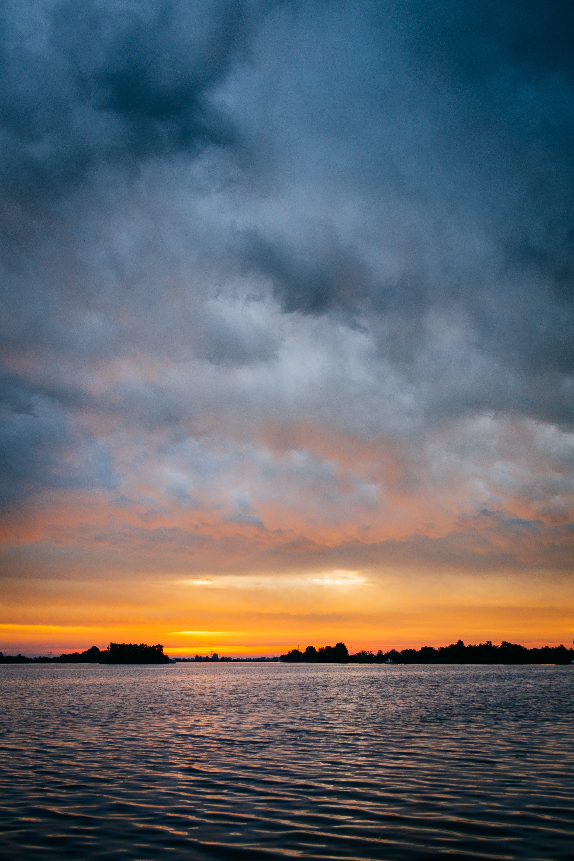 clouds, horizon, lake