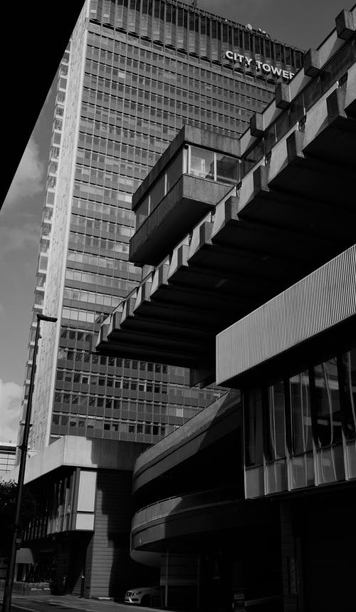 Free stock photo of black and white background, black and white city, brutalist architecture