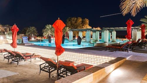 Illuminated Swimming Pool Area During Night Time
