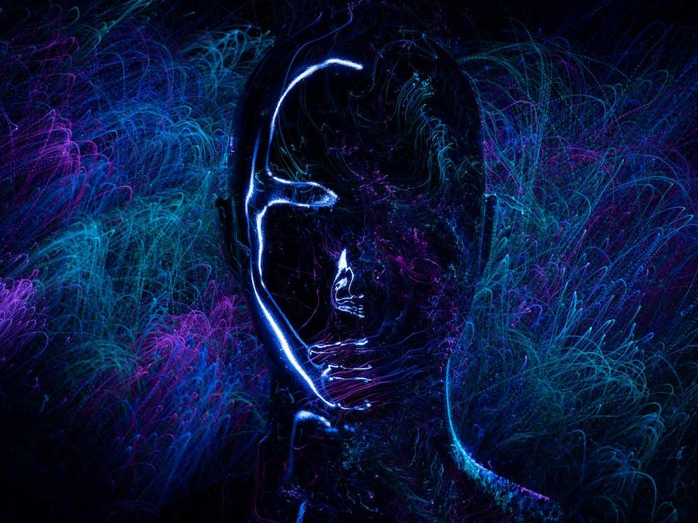 Blue and Black Heart Illustration