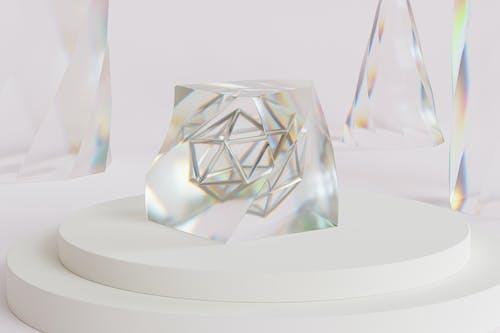 Clear Diamond on White Round Table