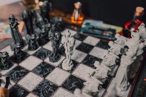 Medieval Chess Set in Black and White