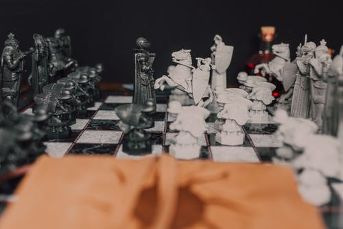 Medieval Black and White Chess Pieces