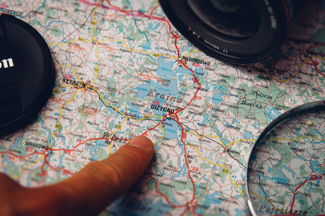 Person Pointing Gizycko Country Map