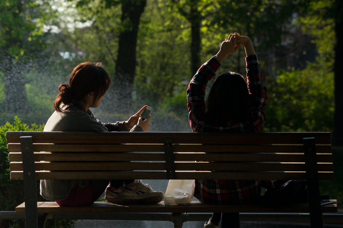 Two Women Sitting on Brown Wooden Park Bench