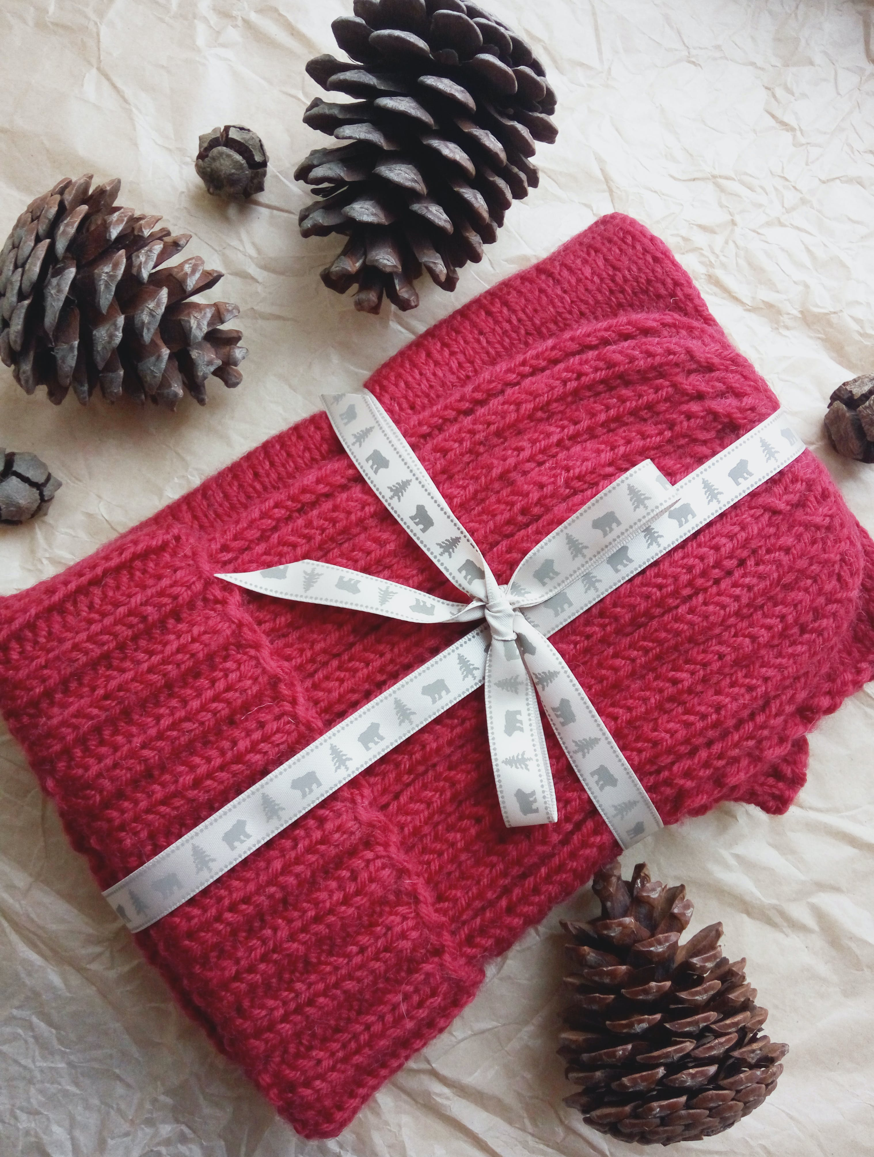 Red Knitted Textile And Three Black Pine Cones