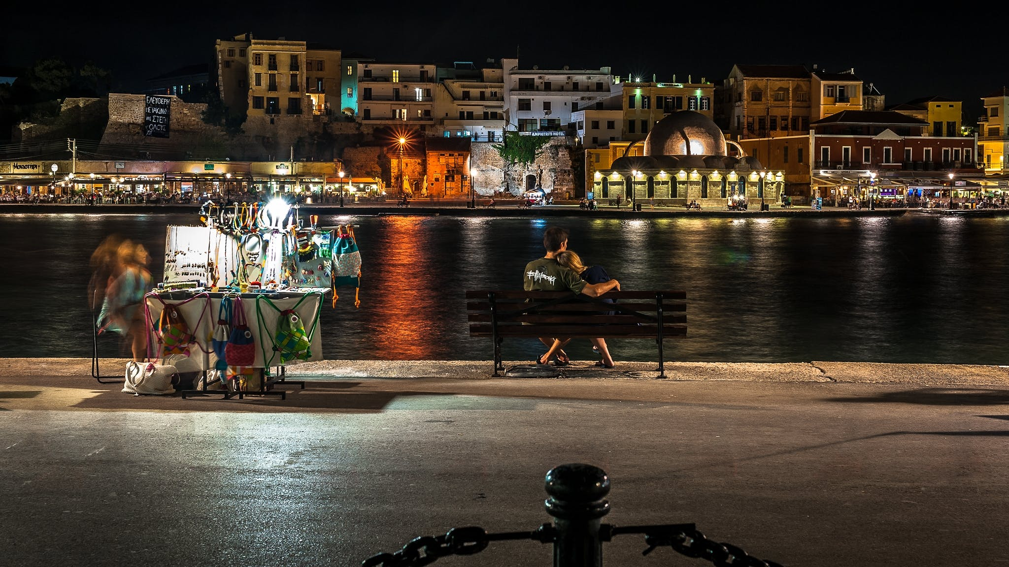 Free stock photo of couple, harbour, night colours, night photography