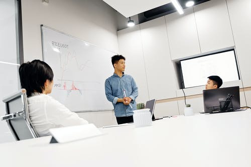 A Man Doing a Presentation in a Business Meeting