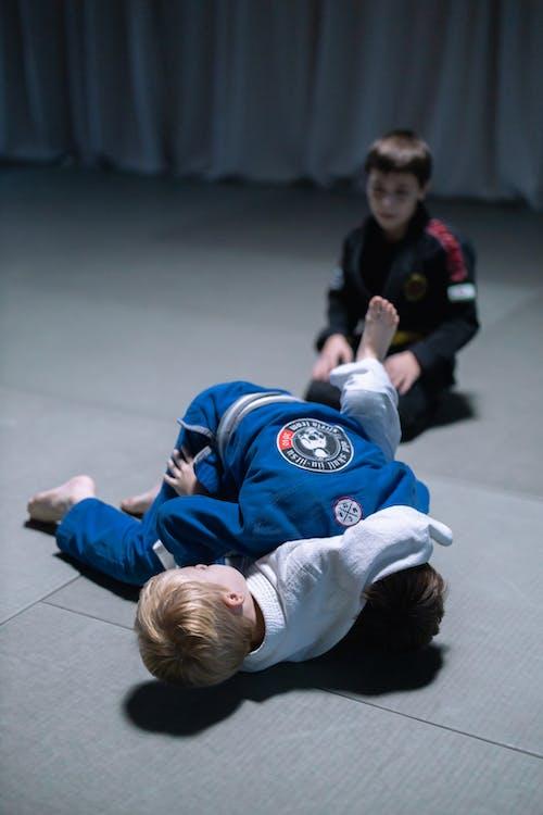 Boys Sparring in the Sports of Jiujitsu
