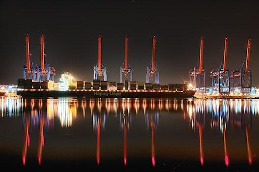 Eight Red Steel Cranes