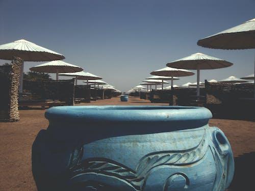 埃及, 沙灘, 沙灘椅, 海 的 免费素材照片