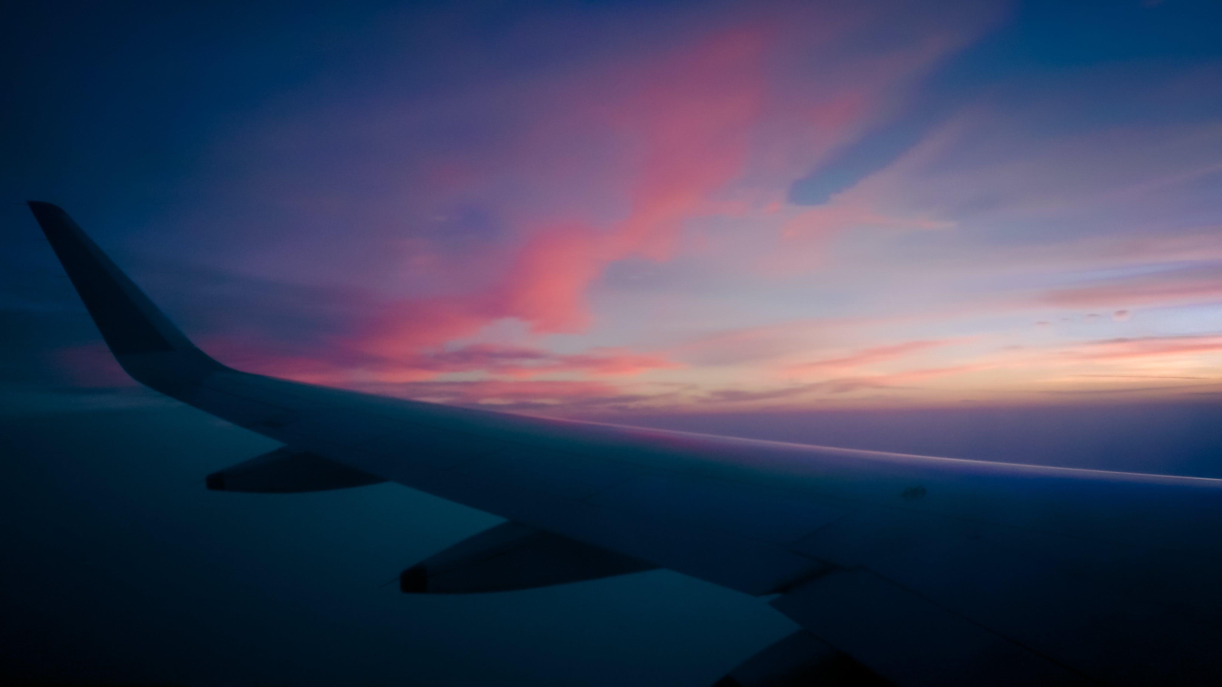 Free stock photo of aeroplane, dramatic sky, fly, orange sky