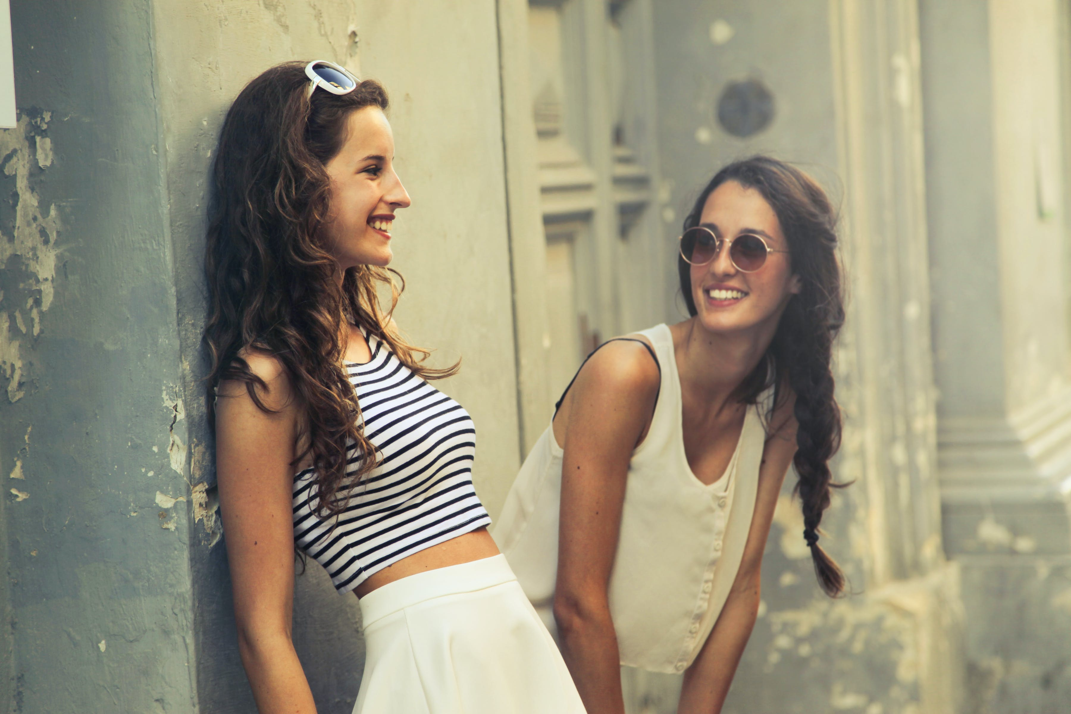 Two Women With White Sunglasses
