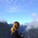 mountains, woman, photographer