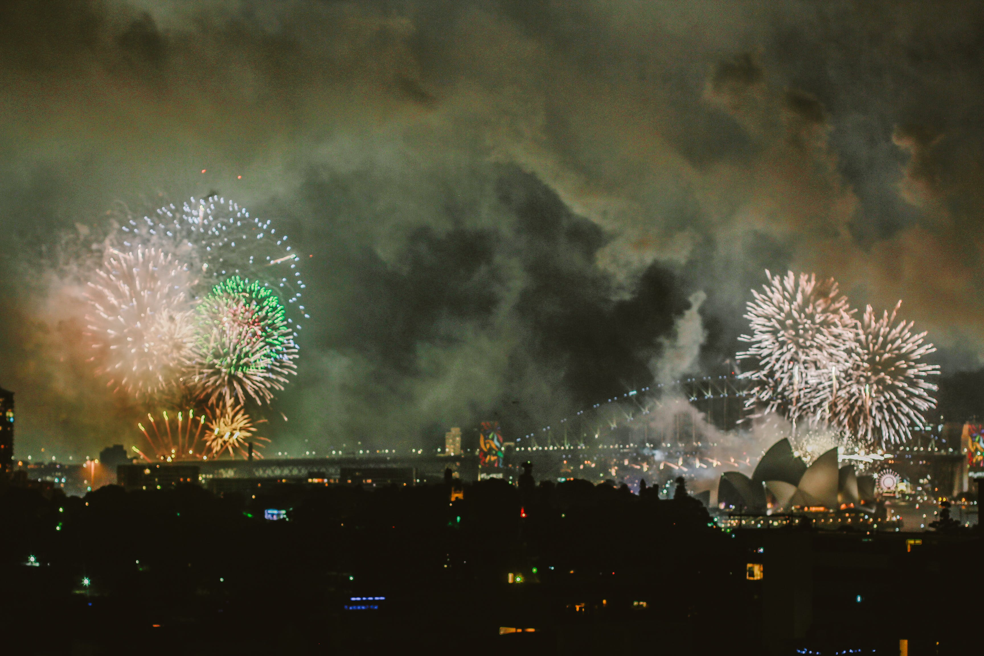 Photography Of City With Fireworks At Night