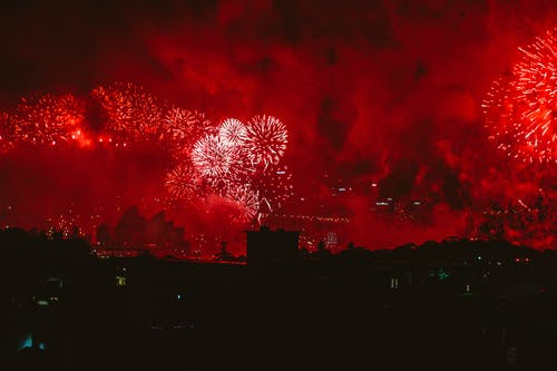 Red Fireworks Display