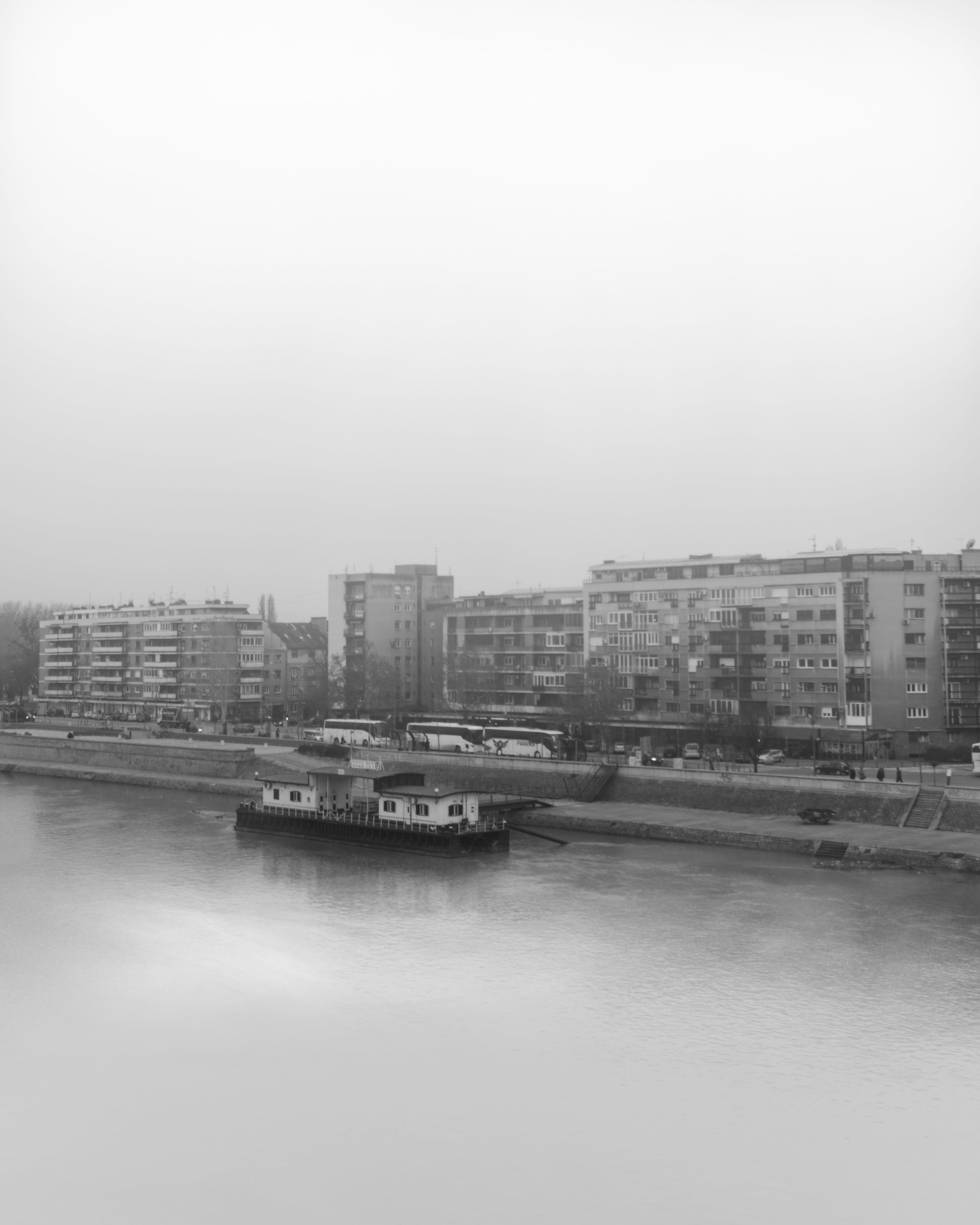 Free stock photo of black and white, city view, danube river, foggy