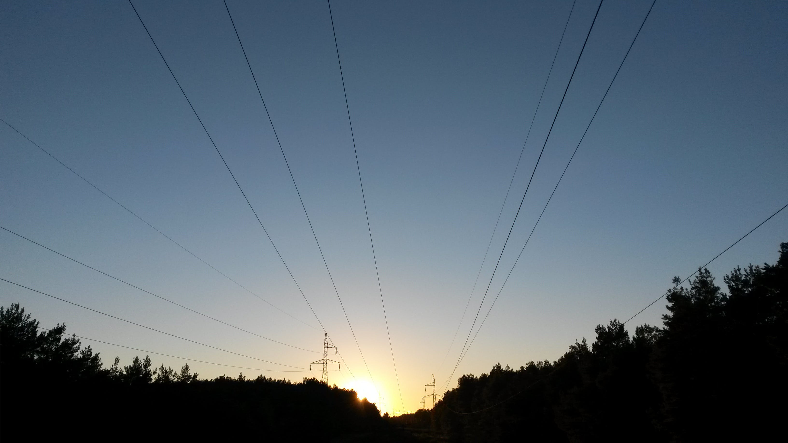 Free stock photo of sunset, electric poles