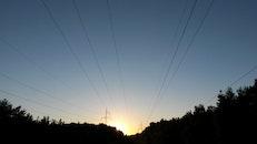 sunset, electric poles