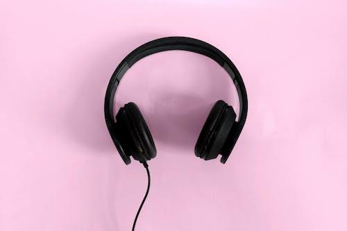 Free stock photo of black, blush, flatlay, headphones