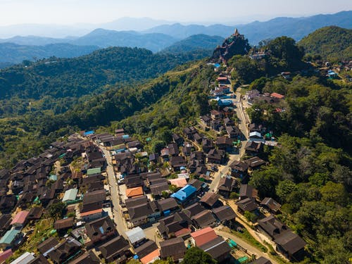 Aerial View of Houses on Mountain