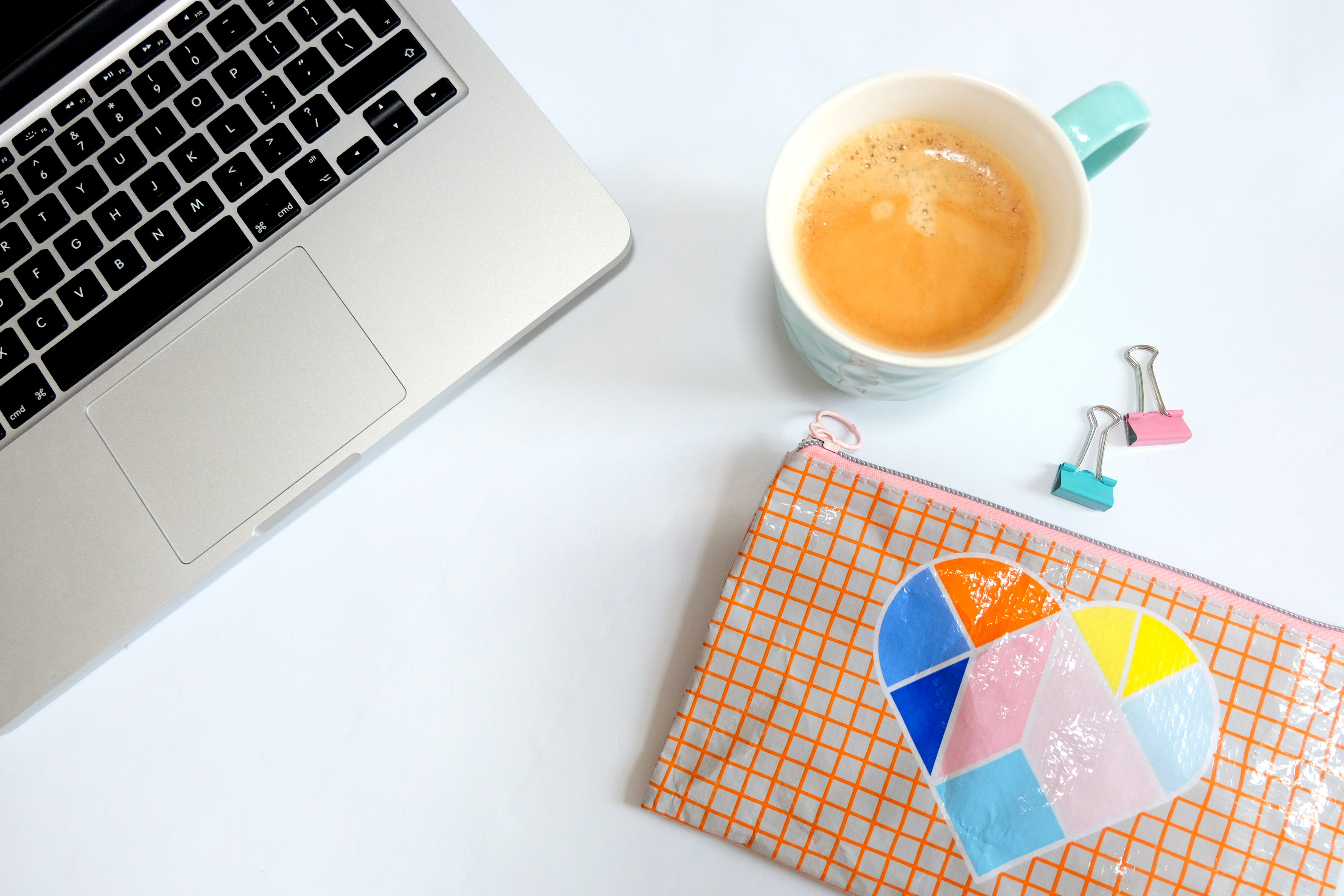 Free stock photo of coffee, cup, desk, flatlay